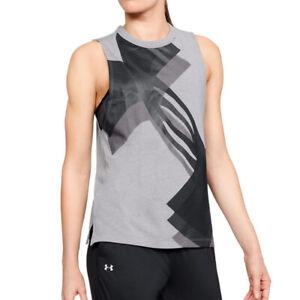 Under Armour UA HeatGear Ladies Overlay Logo Grey Muscle Tank Running Vest