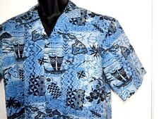 VINTAGE ROYAL CREATIONS HAWAIIAN SHIRT Blue Pineapple Map Hōkūleʻa Large