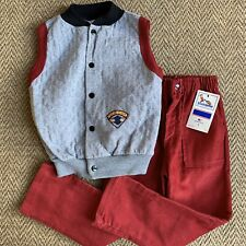 Vtg Buster Brown Boys Red Corduroy Pants Grey Vest Outfit 1970s Hipster