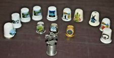 Lot of 14 Porcelain/Pewter/Metal Thimbles Flowers Souvenirs Some w/Gold Trim