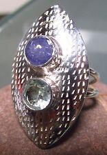 Argent 925 moderniste style bleu tanzanite/topaz ring uk k 3/4 - l/us 5.75