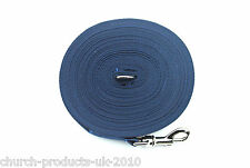 50ft Dog Training Lead,Obedience,Recall,Leash,Large 25mm Navy Webbing
