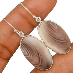 Natural Botswana Agate 925 Sterling Silver Earring Jewelry BE47744