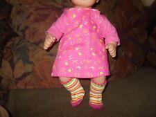 Handmade Bitty Baby Girl Pink Shirt/Bright Pink Floral Print Jumper & Socks D127