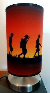 ANZAC soldier digger war bedside touch lamp night light fabric shade