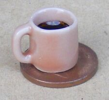 1:12 Scale Ceramic Salmon Pink Mug With Black Coffee Dolls House Kitchen Drink