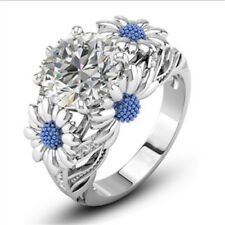 Light blue Round White Sapphire Daisy Charm Ring 925 Silver Lady Size 10