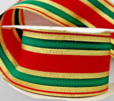 "Christmas bow ribbon red gold green stripes 2¼"" Offray over 30 feet"