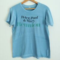 Rare Vintage Peter Paul And Mary Reunion T-Shirt Blue Single Stitch Faded Shrunk