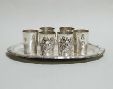 VERY FINE ANTIQUE CHINESE EXPORT SILVER TRAY AND CUPS WITH CALLIGRAPHY