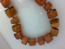 Antique Vintage Baltic Amber beads of butterscotch amber in  barrel shape old