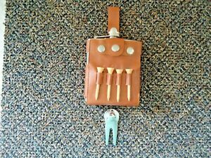 """Vintage Golfers Hip Flask In Sheath With Tees & Divot Tool """" GREAT COLLECTIBLE """""""