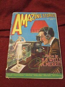 Amazing Stories May 1927 H.G. Wells A. Merritt Frank R. Paul Hugo Gernsback