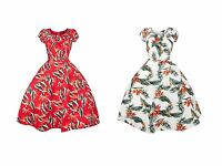 New Ladies 40s 50s Vintage Retro Summer Party Tea Cocktail Dress Feather Print
