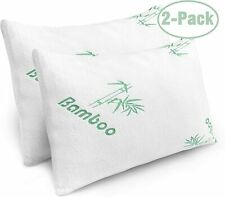 Bamboo Shredded Memory Foam Queen Bed Pillow with Hypoallergenic Cover 2 Pack