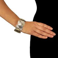 Große Arbeitsgemeinschaften Solid 925 Sterling Silber Armband geflochten Manschette in Geschenk Box