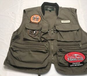 Orvis Multi Pocket Fishing Vest With Cool Patches Sz L Check It Out! Excellent!