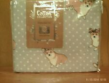 Nwt Pembroke Welsh Corgi Full Size 100%Cotton Sheet Set Cute Corgi Motif