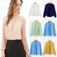 Fashion Summer Womens Casual Chiffon Long Sleeve Shirt Ladies Loose Tops Blouse