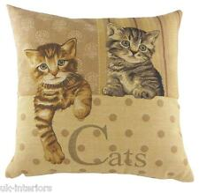 "18"" CATS BELGIAN WOVEN Tapestry Cushion Evans Lichfield Cat Kitten LC490"