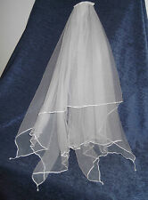 HANDKERCHIEF BRIDAL VEIL, Crystal Drops, 66 cm Length, WHITE, IVORY, NEW, Aust