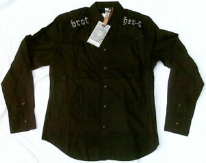 Cool SOB VIP CLUB Designer Cowboy Shirt XL Fitted Black Thick Seam