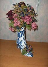 Vintage Blue & White Boot Shoe Vase Ceramic Pottery Planter Baum Bros Style Eyes