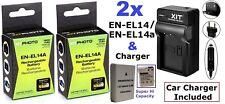 Hi Capacity 2-Pc EN-EL14a Battery + Dual 110/220V Charger For Nikon D3400