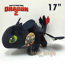 How to Train Your Dragon 2 Toothless Plush Night Fury Soft Toy Teddy Doll 17""