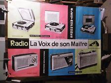 AFFICHE RADIO VOIX DE SON MAITRE TOURNE DISQUES TRANSISTORS ETC