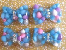 4 x Pretty Bow with Crystal Flatback Resin Embellishment Cabochon Crafts
