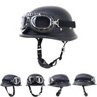 DOT German Motorcycle Half Helmet w/Goggles Skull Cap Cruiser Scooter Chopper S