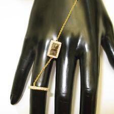 Pave Diamond 14K Yellow Gold Fashion Wedding Slave Bracelet Jewelry For Women