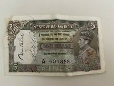 1940s Reserve Bank of India Five Rupees
