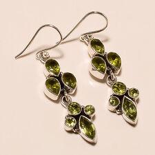 6.10 Gm Natural Peridot Earrings Fine Earrings 925 Solid Sterling Silver i-849