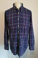 Mens GANT Long Sleeved Smart Casual Purple Check Shirt VGC - Size Medium
