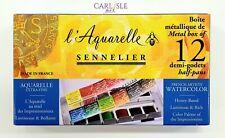 Sennelier - Watercolor Metal Box 12 Half Pan Set