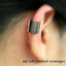 Black ear cuff, black gold plated sterling silver, simple ear cuff