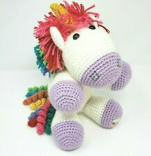 HOOK YARN & HOOPER CROCHET WHITE UNICORN RAINBOW STUFFED ANIMAL PLUSH TOY LOVEY