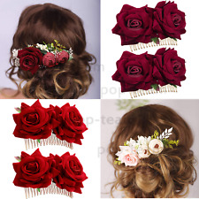 Flower Rose Hair Comb Clip for Brides Wedding Bridal Hair Piece Accessories Prom