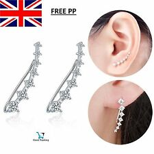 Silver or PINK Large Statement Crystal Ear Climber Crawler Cuff Earrings uk sell