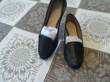 New Antonio Melani Black Perforated Leather Loafers Size 6.5M