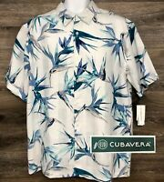 NWT Cubavera Men's 100% Linen White Floral Palm Short Sleeve Hawaiian Shirt L