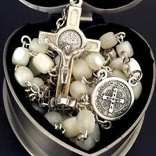 Jerusalem St. Benedict Mother Of Pearl Bead Rosary Catholic Necklace Cross box