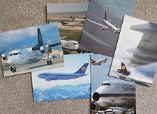 Six Lufthansa Classic Aircraft Postcards Fokker 50 A310 DC-10 B727 B747 King Air