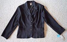 Black Pinstripe Blazer Jacket Women Size 12 Large Softworks NWT Very Nice! Sharp