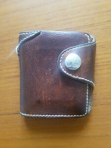Leather biker wallet - antique brown, custom made.