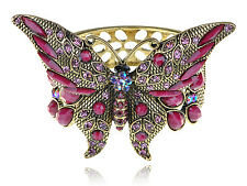 Golden Rose Pink Beads Genuine Crystal Rhinestone Butterfly Bracelet Bangle Cuff