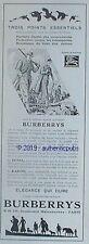 PUBLICITE BURBERRYS VETEMENTS DUVIA KAROO CHASSE FUSIL CHASSEUR DE 1937 AD PUB