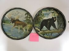 "2 Vintage James L. Artig 11"" Serving Trays Metal Tin - Black Bear and Moose"